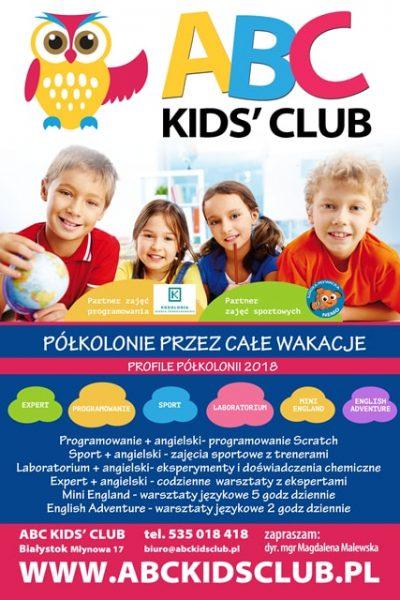 ABC Kids Club Centrum Kreatywnego Myślenia półkolonie 2018 Białystok